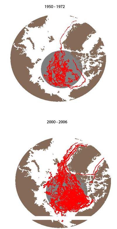 Zugbahnen von Stürmen 1950-1972 (oben) und 2000-2006 (unten)