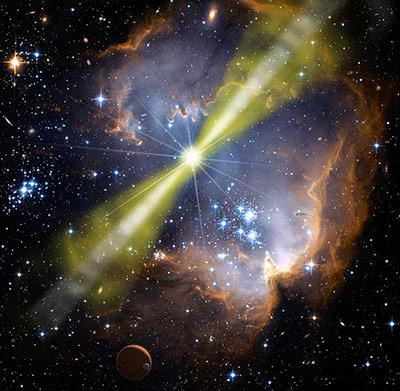 Bei einigen Supernovae löst der Sternkollaps einen Gammastrahlen-Ausbruch aus.