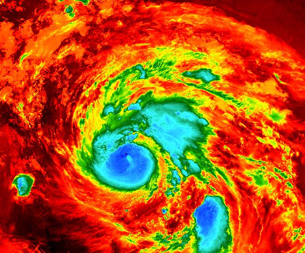 Infrarot-Aufnahme des Hurrikans Harvey kurz vor seinem Landfall in Texas.