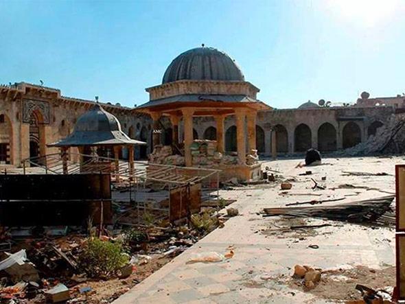 Beschädigte historische Bauten in Aleppo