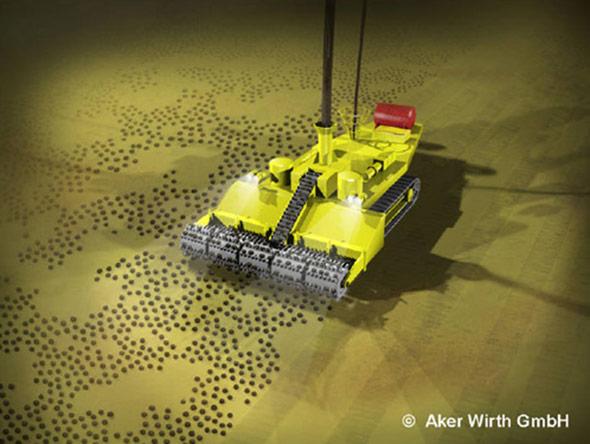 Modell eines von der BGR und der Aker Wirth GmbH entwickelten Kollektors zum Abbau von Manganknollen.