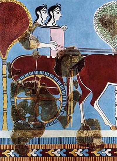 Fresco eines Streitwagens mit zwei Mykenerinnen, gemalt 1200 vor Christus an eine Wand in Tiryns.