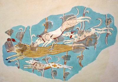 Neuer Prunk in wiedererstandenem Palast: Fresco mit einer Jagdszene
