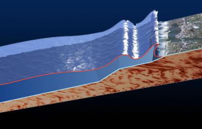 Ein Tsunami kann auch von einem Unterwasser-Erdrutsch ausgelöst werden