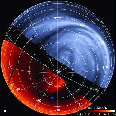 Ein Bild der Venus aufgenommen mit ultraviolettem und infrarotem Licht.