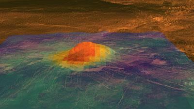 """Wärmebild eines Venusvulkans mit """"Hotspot"""""""