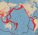 Karte mit der Erdbebenverteilung im pazifischen Raum