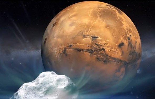 Komet Siding Spring Fliegt Sonntagabend Nah Am Roten Planeten Vorbei