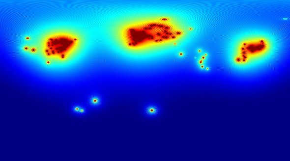 Erde Karte Rund.Teilchen Strahlung Verrät Intensität Des Radioaktiven Zerfalls Im