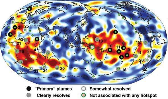 Vulkane Der Erde Karte.Weltkarte Der Mantelplumes Enthüllt überraschendes Zu Den Wurzeln