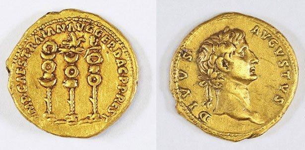 Römische Gedenkmünze Des Kaisers Trajan In Israel Gefunden