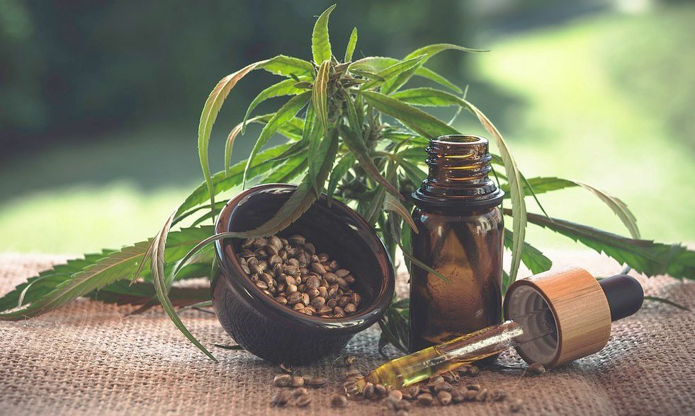 CBD und Cannabisblätter
