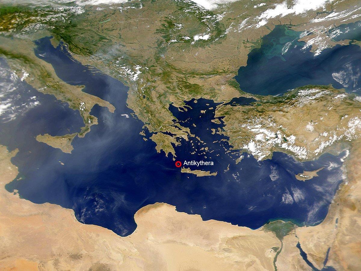 Lage der Insel Antikythera