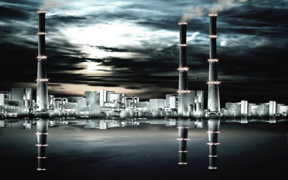 Nachtansicht eines Kraftwerks