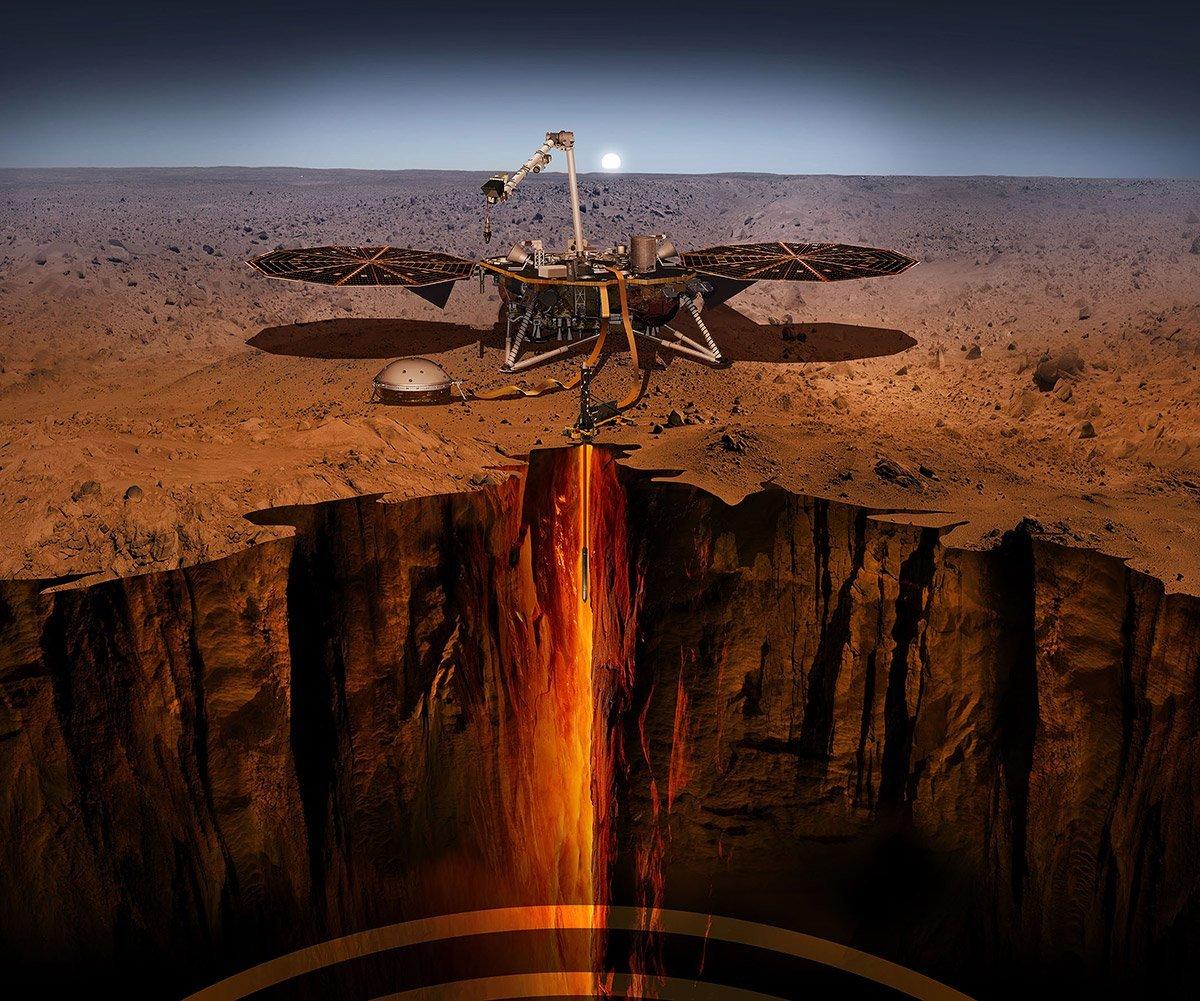 Mars InSight beim Bohren