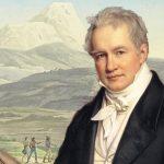Alexander von Humboldt (J, Steler, 1843) vor einer Illustration aus einem seiner Werke