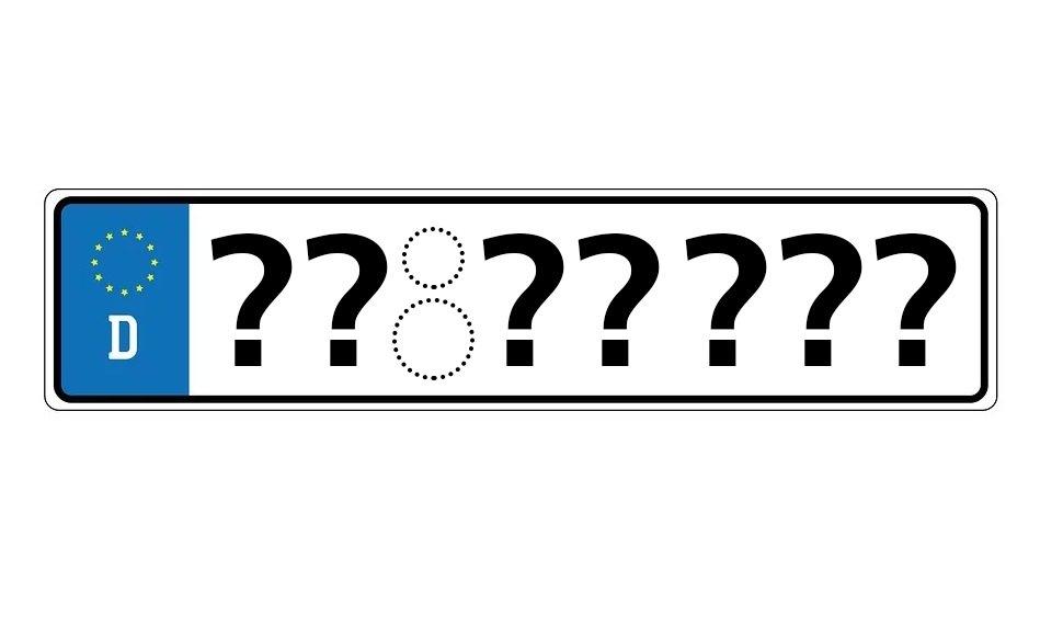 KFZ-Kennzeichen mit Platzhaltersymbolen