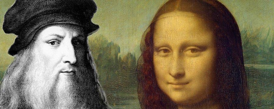 Leonardo da Vinci neben seiner Mona Lisa