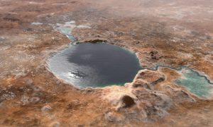 Jezero-Krater mit Wasser
