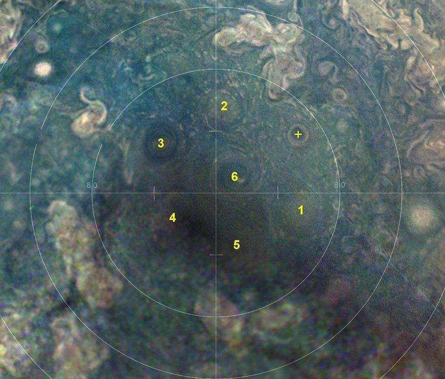 Stürme am Jupiter-Südpol