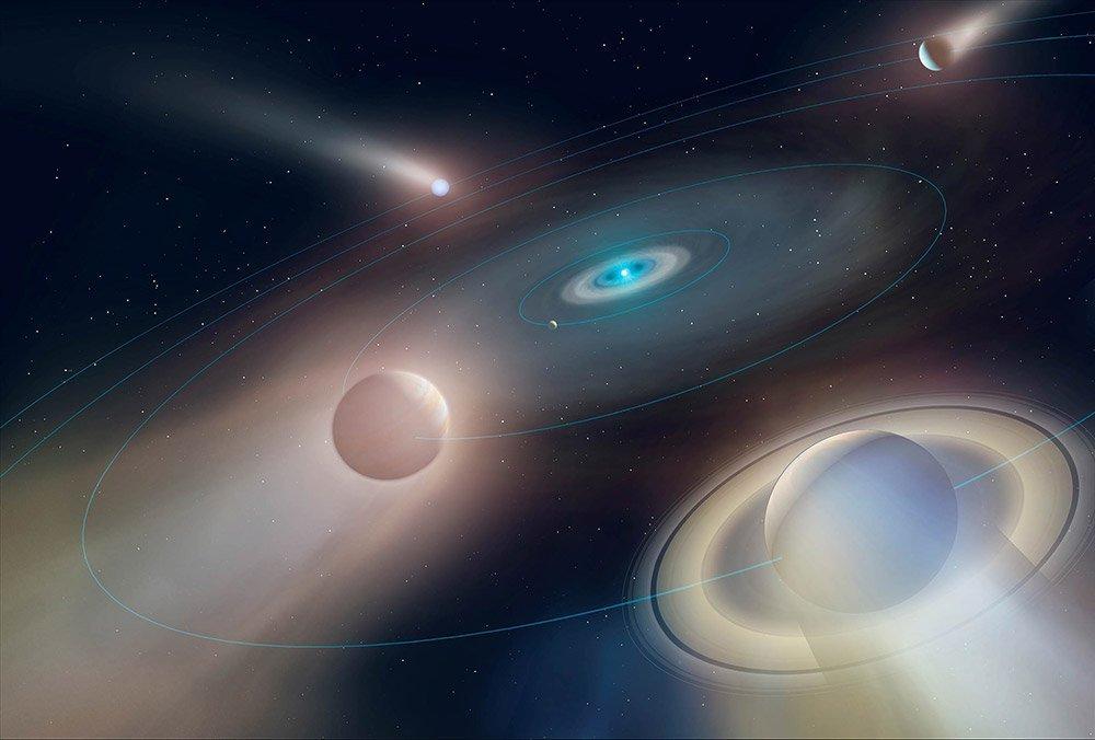 Weißer Zwerg mit Planeten